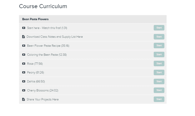Teachable course curriculum page